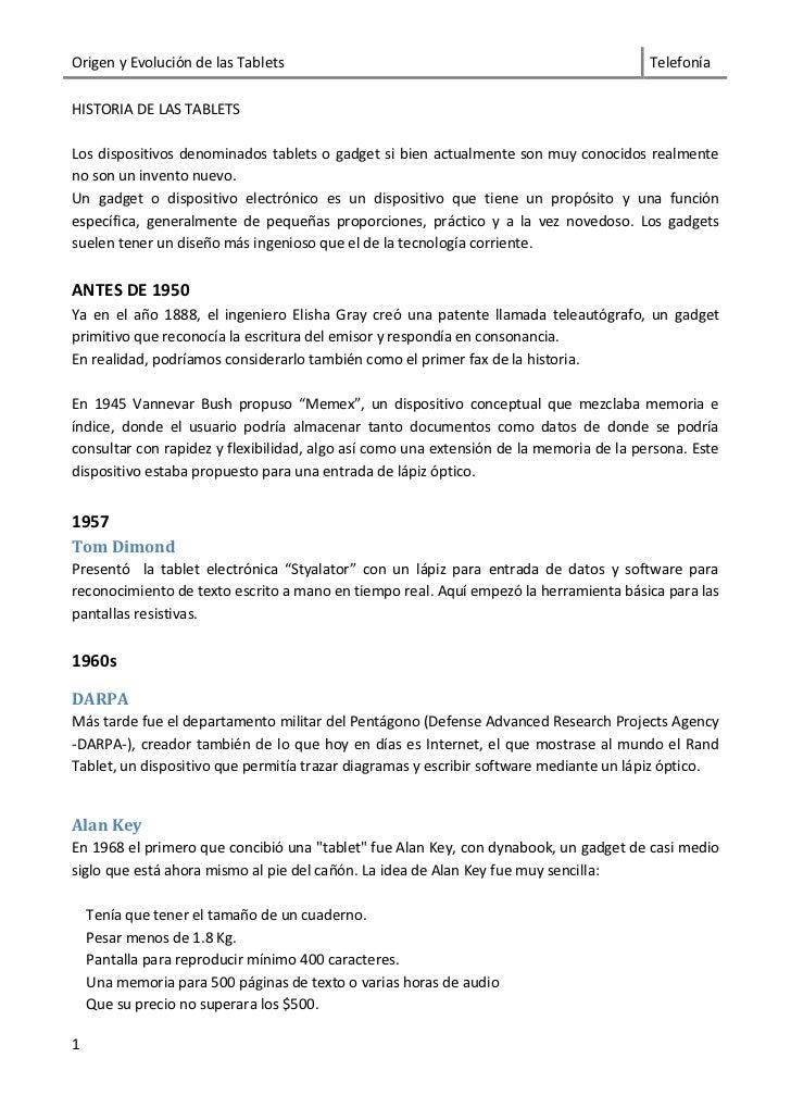 Origen y Evolución de las Tablets                                                       TelefoníaHISTORIA DE LAS TABLETSLo...