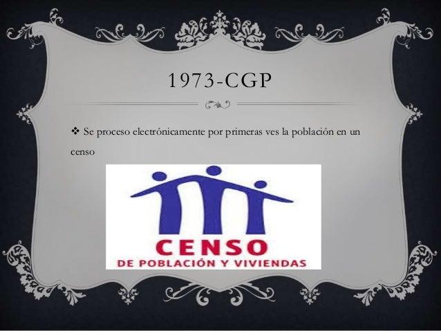 1973-CGP   Se proceso electrónicamente por primeras ves la población en un  censo