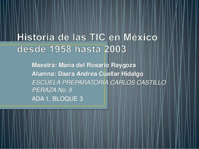 Maestra: María del Rosario Raygoza  Alumna: Daara Andrea Cuellar Hidalgo  ESCUELA PREPARATORIA CARLOS CASTILLO  PERAZA No....