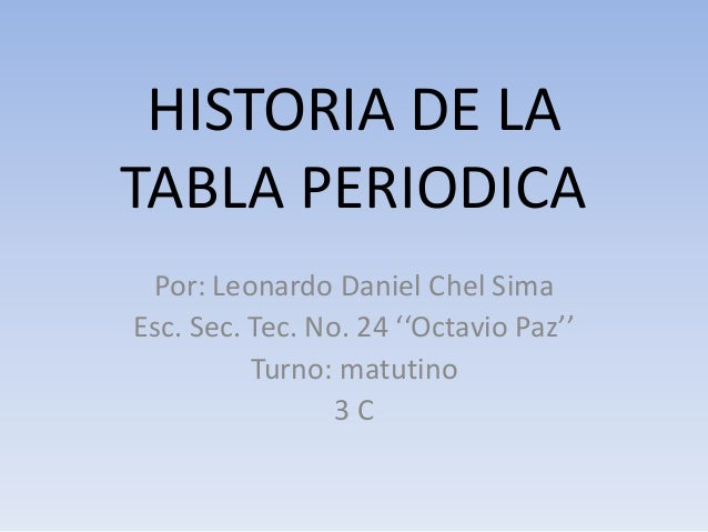 Historia de la tabla periodica historia de la tabla periodica por leonardo daniel chel sima esc sec urtaz Gallery