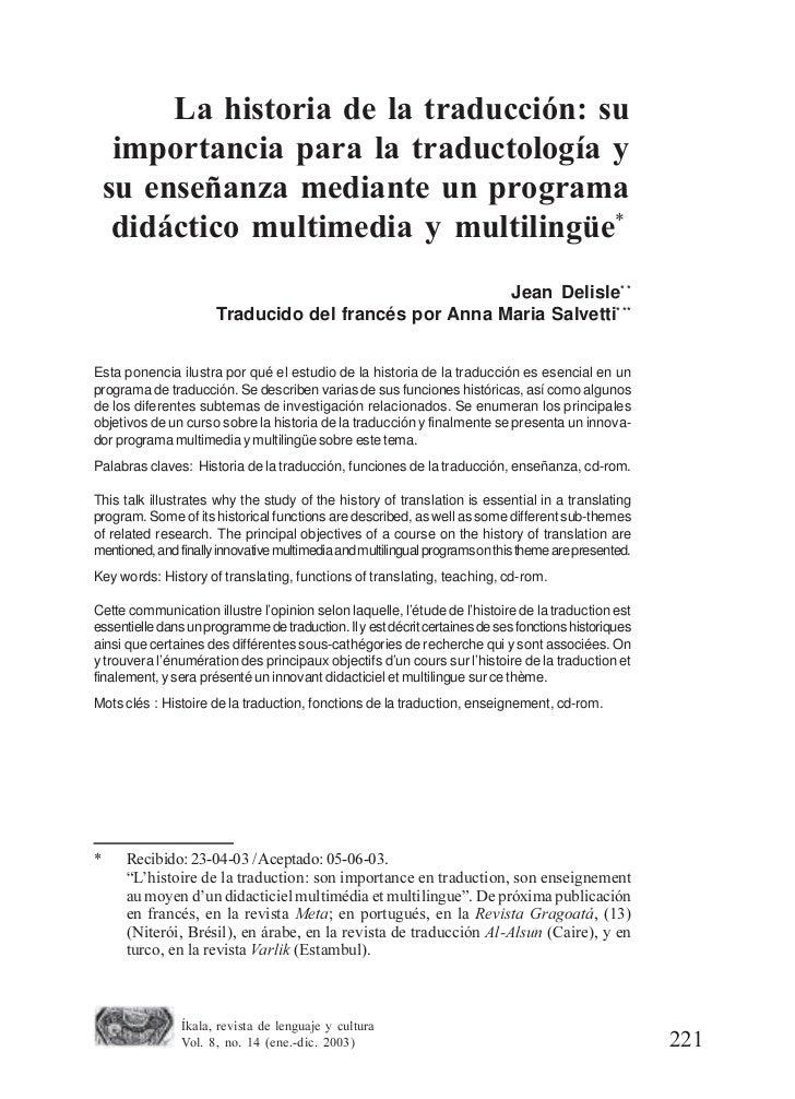 La historia de la traducción: su     importancia para la traductología y    su enseñanza mediante un programa     didáctic...