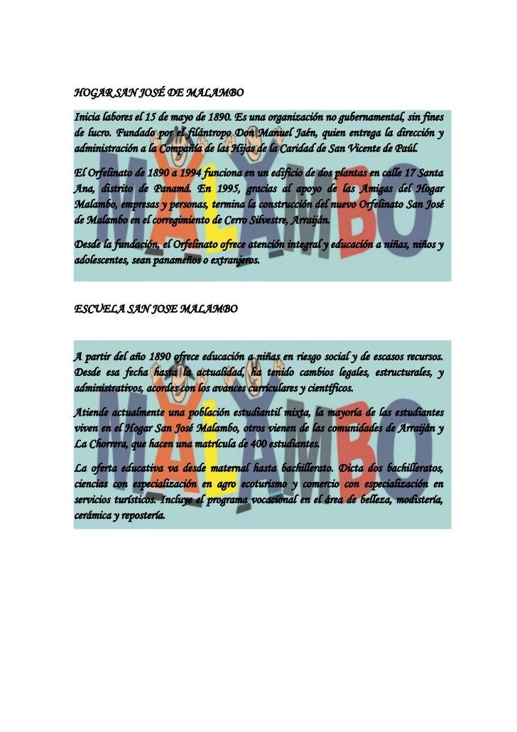 HOGAR SAN JOSÉ DE MALAMBO<br />-3810-1905Inicia labores el 15 de mayo de 1890. Es una organización no gubernamental, sin f...