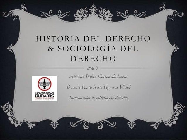 HISTORIA DEL DERECHO & SOCIOLOGÍA DEL DERECHO Alumna Indira Castañeda Luna Docente Paula Ivette Pegueros Vidal Introducció...