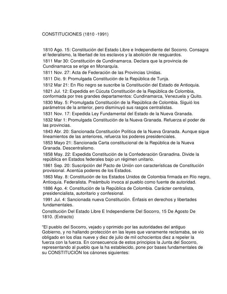 CONSTITUCIONES (1810 -1991)1810 Ago. 15: Constitución del Estado Libre e Independiente del Socorro. Consagrael federalismo...