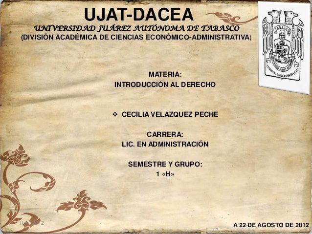 UJAT-DACEA    UNIVERSIDAD JUÁREZ AUTÓNOMA DE TABASCO(DIVISIÓN ACADÉMICA DE CIENCIAS ECONÓMICO-ADMINISTRATIVA)             ...
