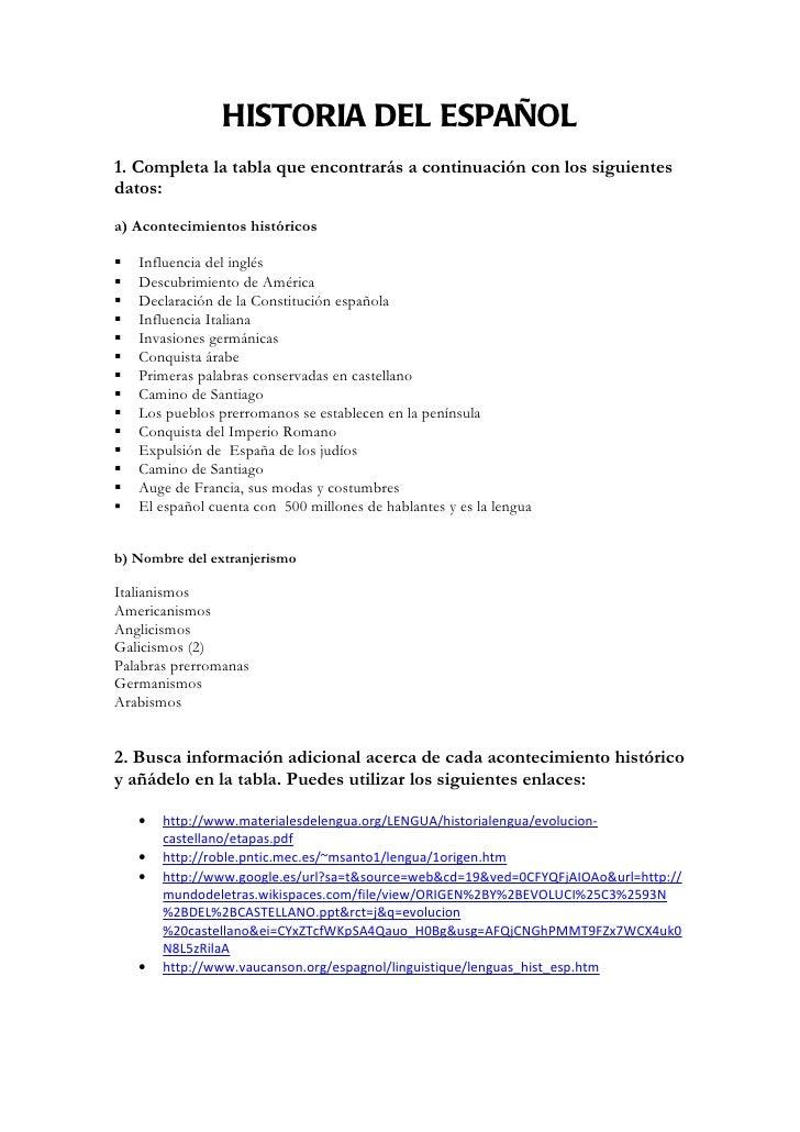 HISTORIA DEL ESPAÑOL1. Completa la tabla que encontrarás a continuación con los siguientesdatos:a) Acontecimientos históri...