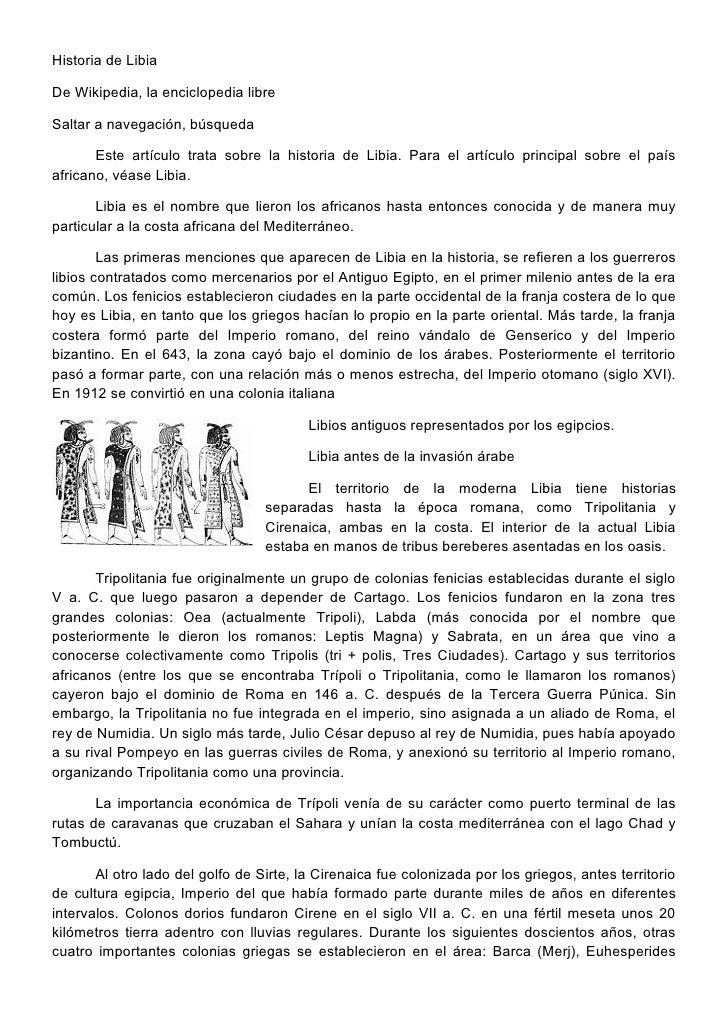 Historia de Libia  De Wikipedia, la enciclopedia libre  Saltar a navegación, búsqueda         Este artículo trata sobre la...