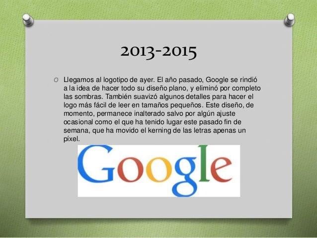 2013-2015 O Llegamos al logotipo de ayer. El año pasado, Google se rindió a la idea de hacer todo su diseño plano, y elimi...