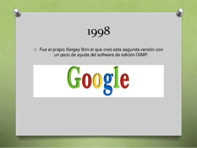1998 O Fue el propio Sergey Brin el que creó esta segunda versión con un poco de ayuda del software de edición GIMP.