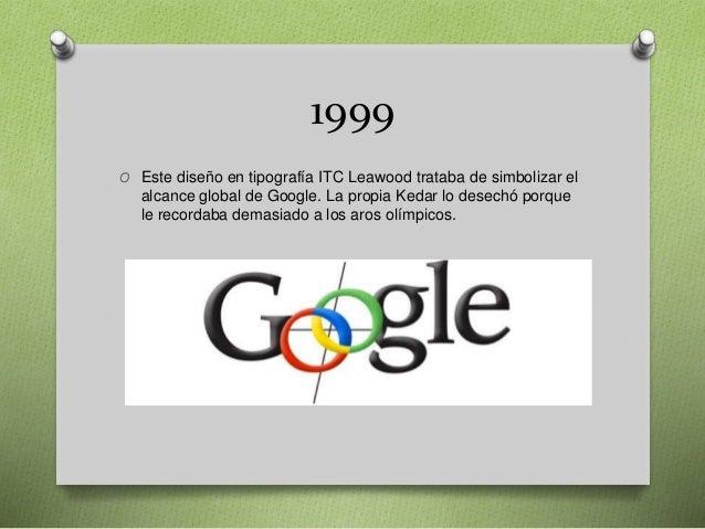 1999 O Este diseño en tipografía ITC Leawood trataba de simbolizar el alcance global de Google. La propia Kedar lo desechó...