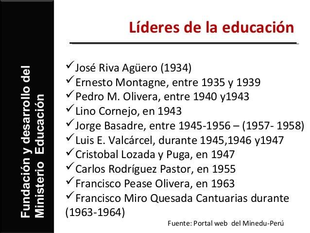 Líderes de la educación                             José Riva Agüero (1934)Fundación y desarrollo del                    ...