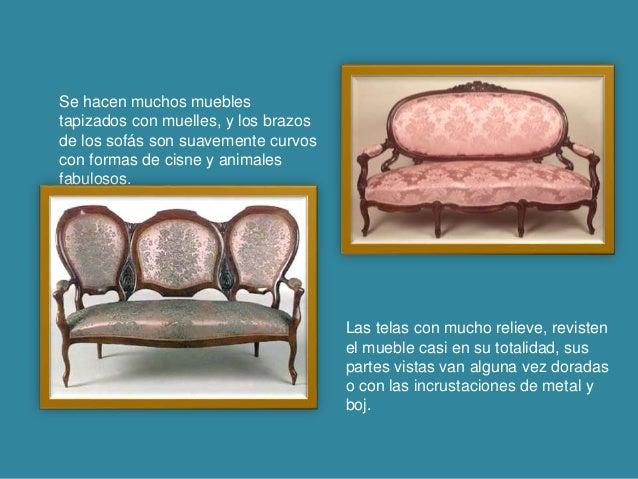Se hacen muchos muebles tapizados con muelles, y los brazos de los sofás son suavemente curvos con formas de cisne y anima...
