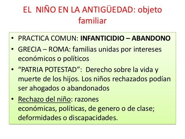 EL NIÑO EN LA ANTIGÜEDAD: objetofamiliar• PRACTICA COMUN: INFANTICIDIO – ABANDONO• GRECIA – ROMA: familias unidas por inte...