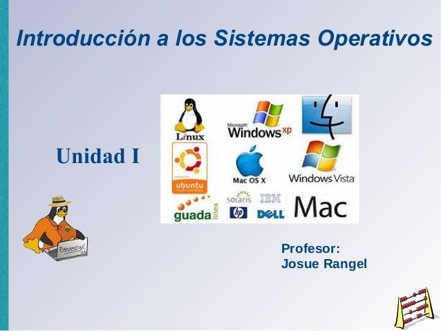 Introducción a los Sistemas Operativos   Unidad I                        Profesor:                        Josue Rangel