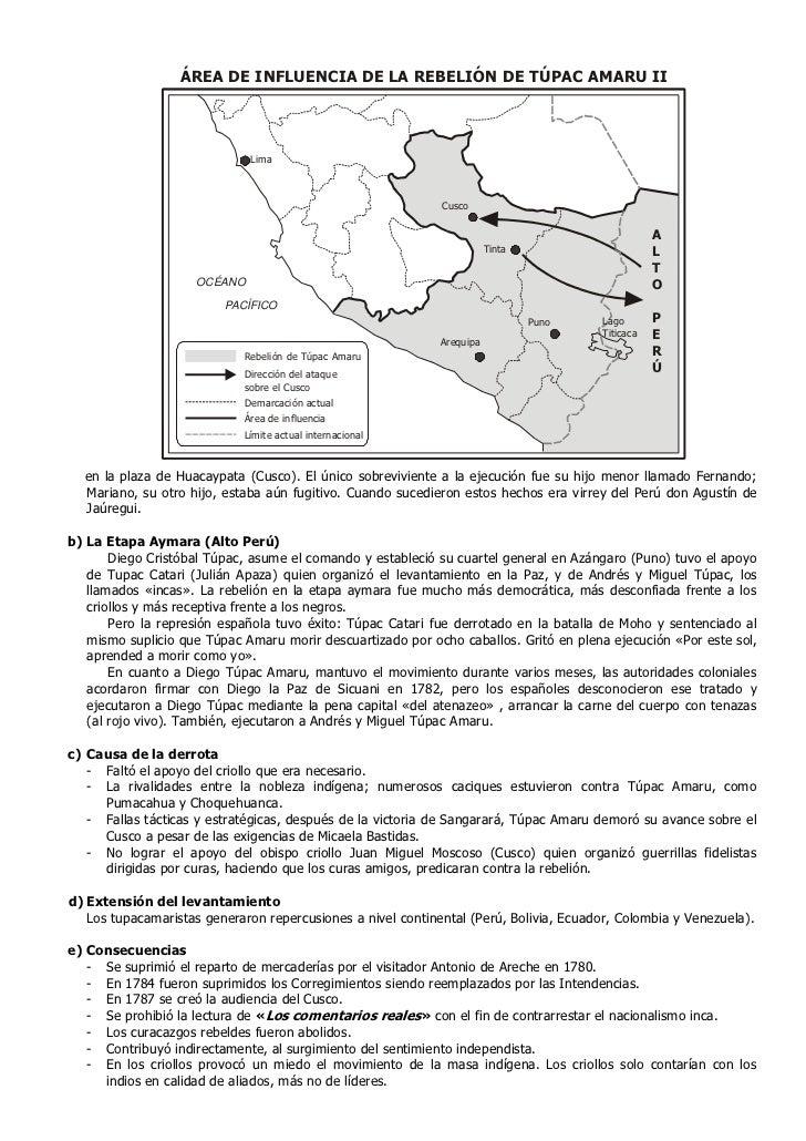 ÁREA DE INFLUENCIA DE LA REBELIÓN DE TÚPAC AMARU II                              Lima                                     ...