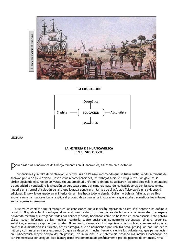 El comercio durante el Virreinato                                                               LA EDUCACIÓN              ...