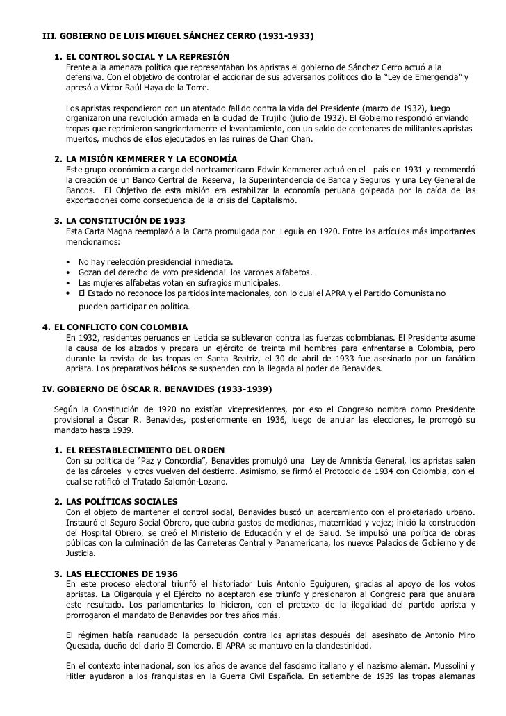 III. GOBIERNO DE LUIS MIGUEL SÁNCHEZ CERRO (1931-1933)   1. EL CONTROL SOCIAL Y LA REPRESIÓN      Frente a la amenaza polí...