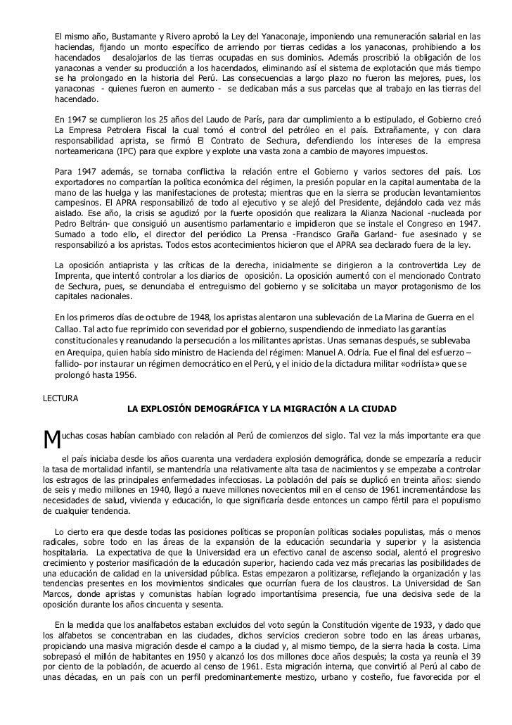 El mismo año, Bustamante y Rivero aprobó la Ley del Yanaconaje, imponiendo una remuneración salarial en las   haciendas, f...