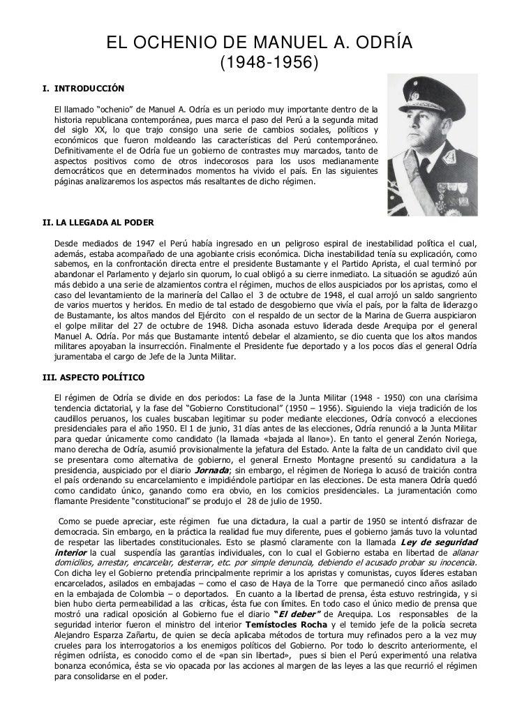 """EL OCHENIO DE MANUEL A. ODRÍA                         (1948-1956)I. INTRODUCCIÓN  El llamado """"ochenio"""" de Manuel A. Odría ..."""