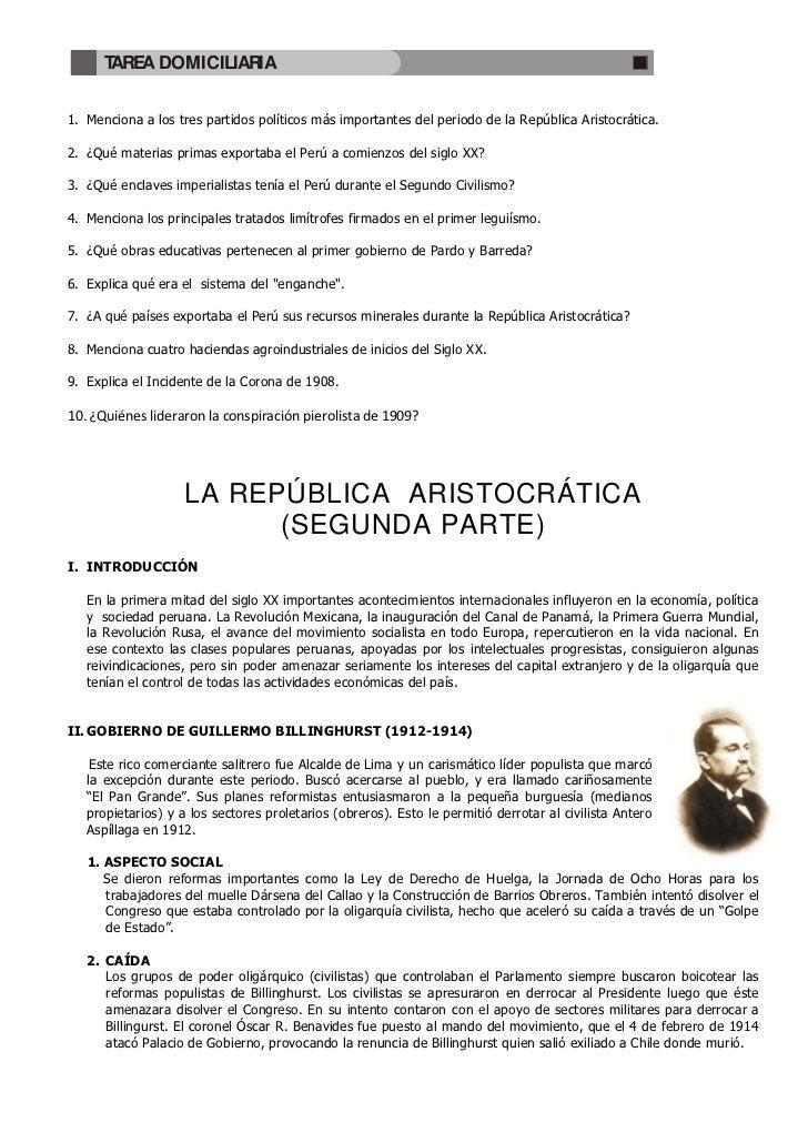 TAREA DOMICILIARIA1. Menciona a los tres partidos políticos más importantes del periodo de la República Aristocrática.2. ¿...
