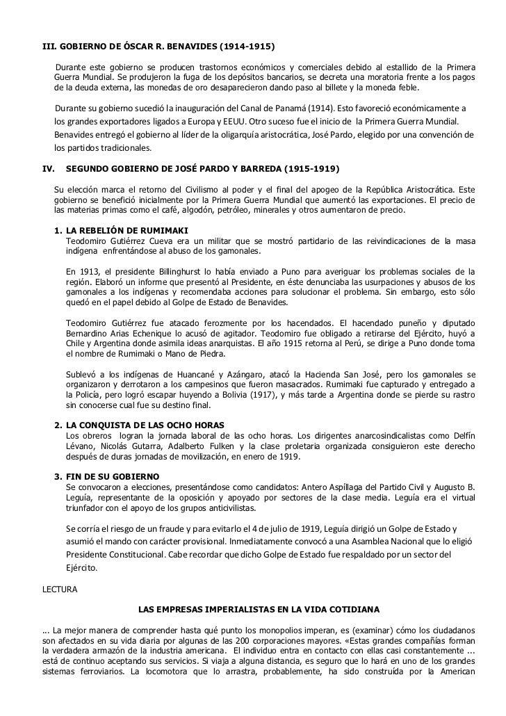 III. GOBIERNO DE ÓSCAR R. BENAVIDES (1914-1915)   Durante este gobierno se producen trastornos económicos y comerciales de...