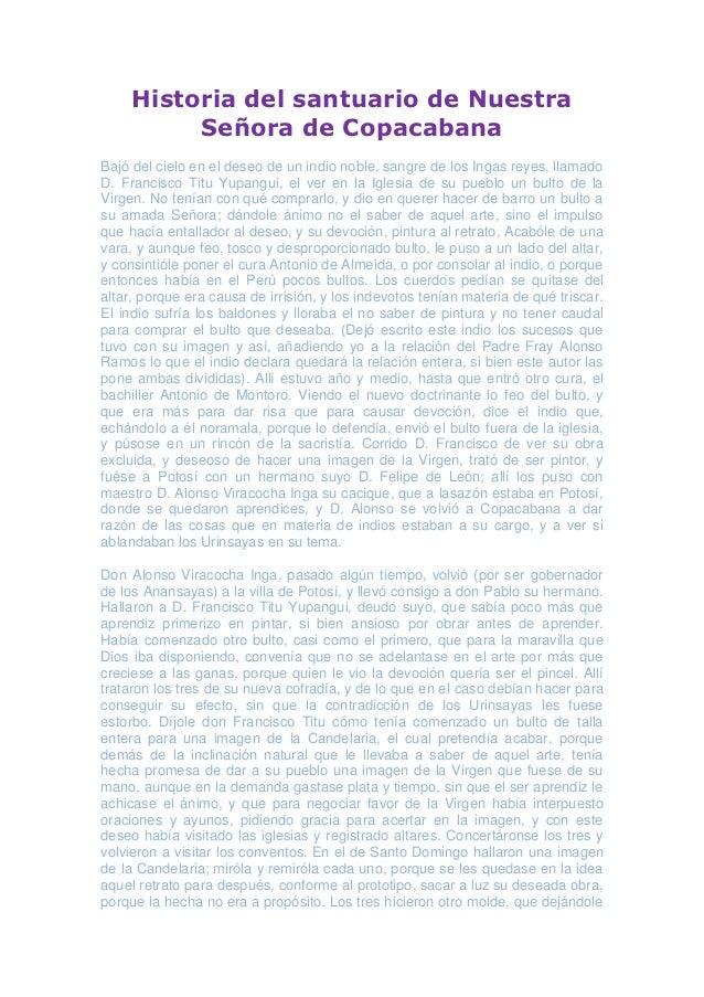 Historia del santuario de Nuestra          Señora de CopacabanaBajó del cielo en el deseo de un indio noble, sangre de los...
