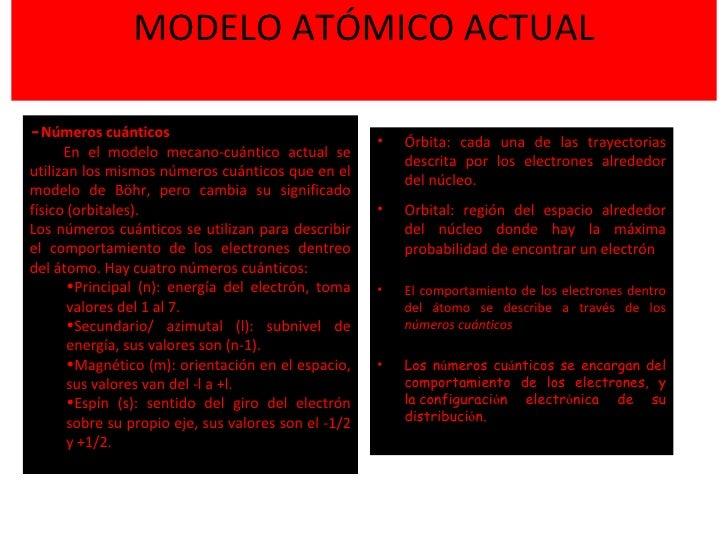 MODELO ATÓMICO ACTUAL <ul><li>Órbita: cada una de las trayectorias descrita por los electrones alrededor del núcleo. </li>...