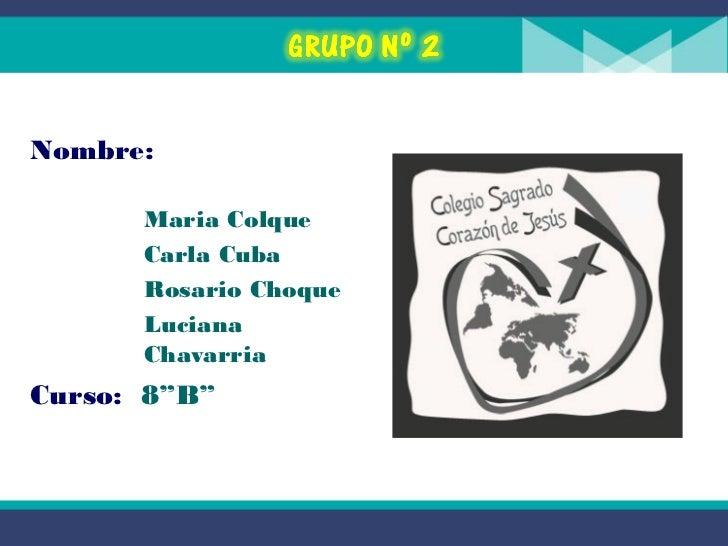 """Nombre:      Maria Colque      Carla Cuba      Rosario Choque      Luciana      ChavarriaCurso: 8""""B"""""""