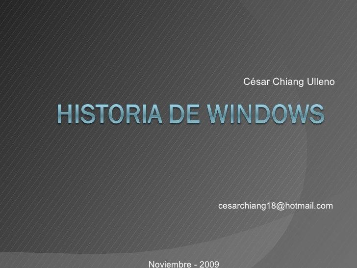 César Chiang Ulleno [email_address] Noviembre - 2009