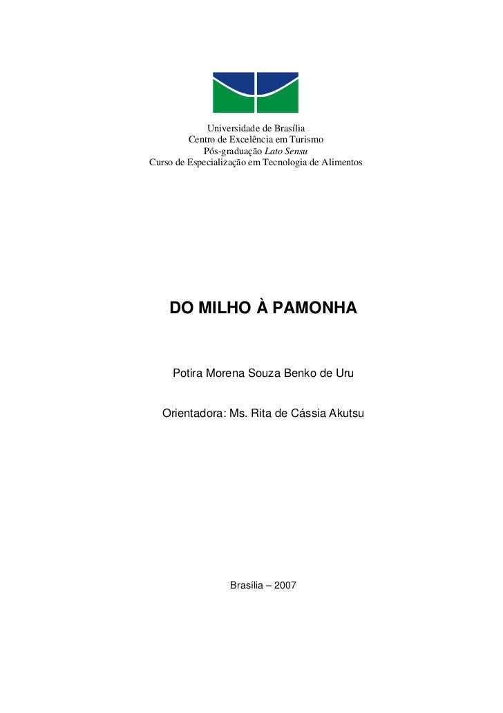 Universidade de Brasília          Centro de Excelência em Turismo             Pós-graduação Lato Sensu Curso de Especializ...