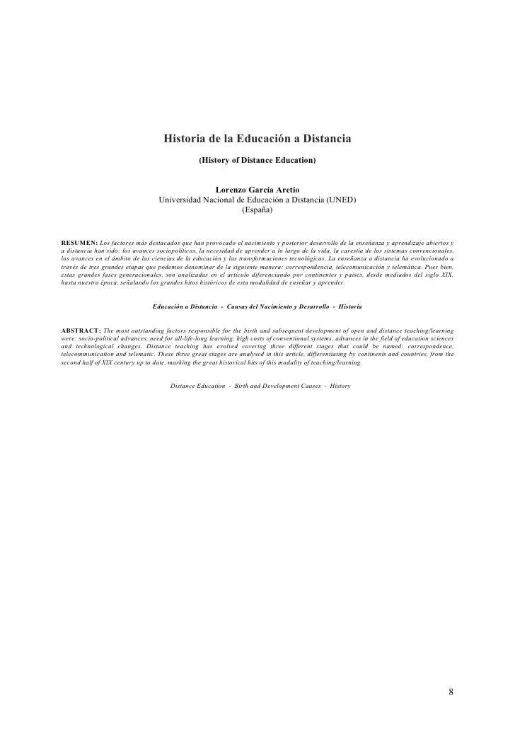 Historia de la Educación a Distancia                                                  (History of Distance Education)     ...