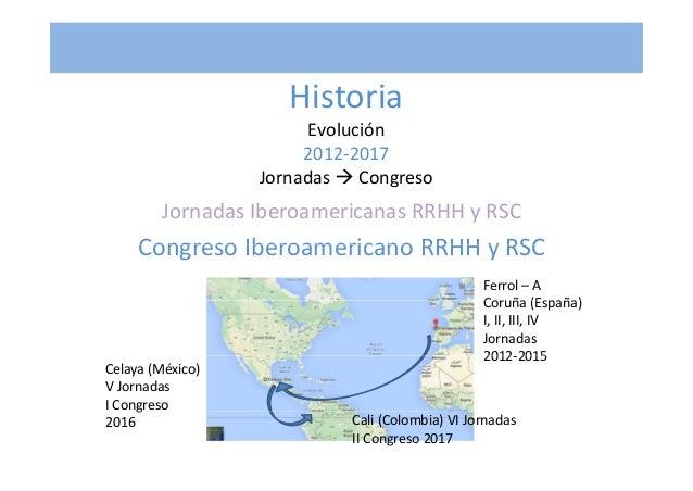 Historia EvoluciónEvolución 2012‐2017 Jornadas Congreso JornadasIberoamericanasRRHHyRSC Congreso Iberoamericano RRHH ...