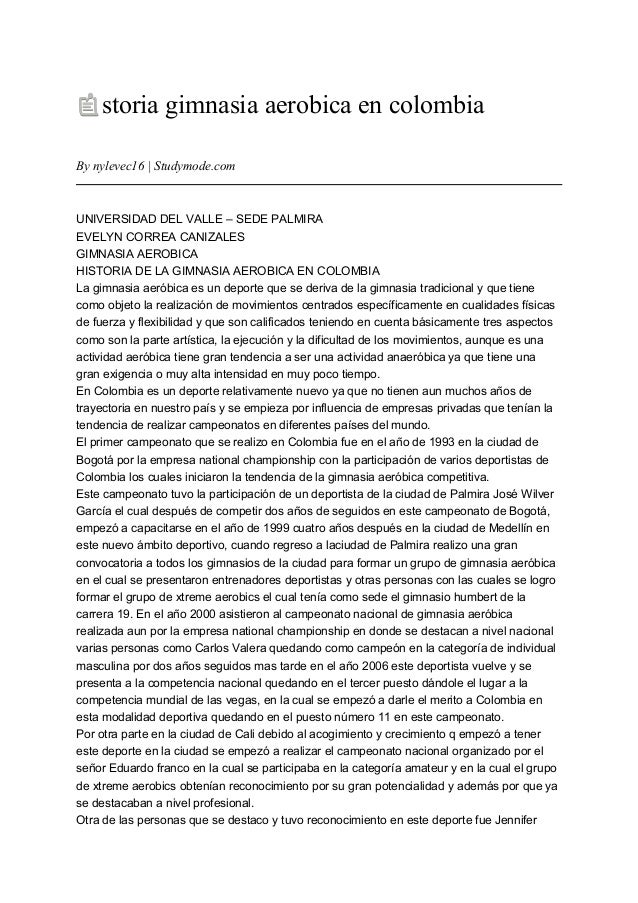 Historia gimnasia aerobica en colombia for Gimnasia informacion