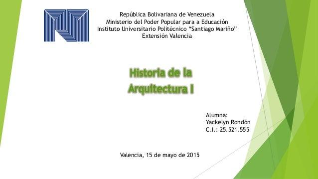 """República Bolivariana de Venezuela Ministerio del Poder Popular para a Educación Instituto Universitario Politécnico """"Sant..."""