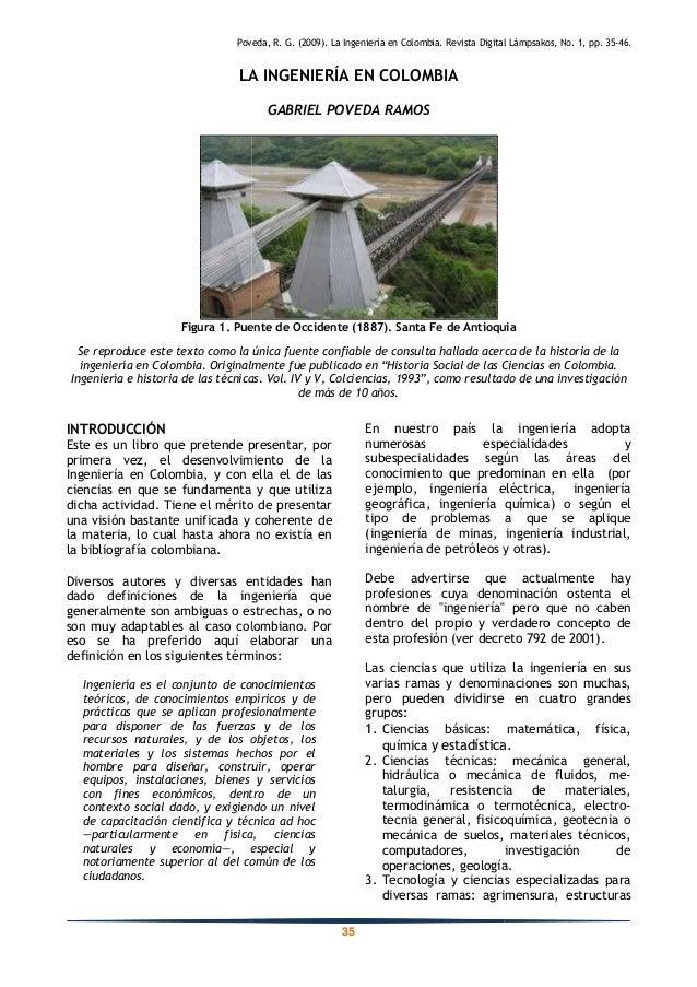 LA INGENIERÍA EN COLOMBIA Figura 1. Puente de Occidente (1887). Se reproduce este texto como la única fuente ingeniería en...