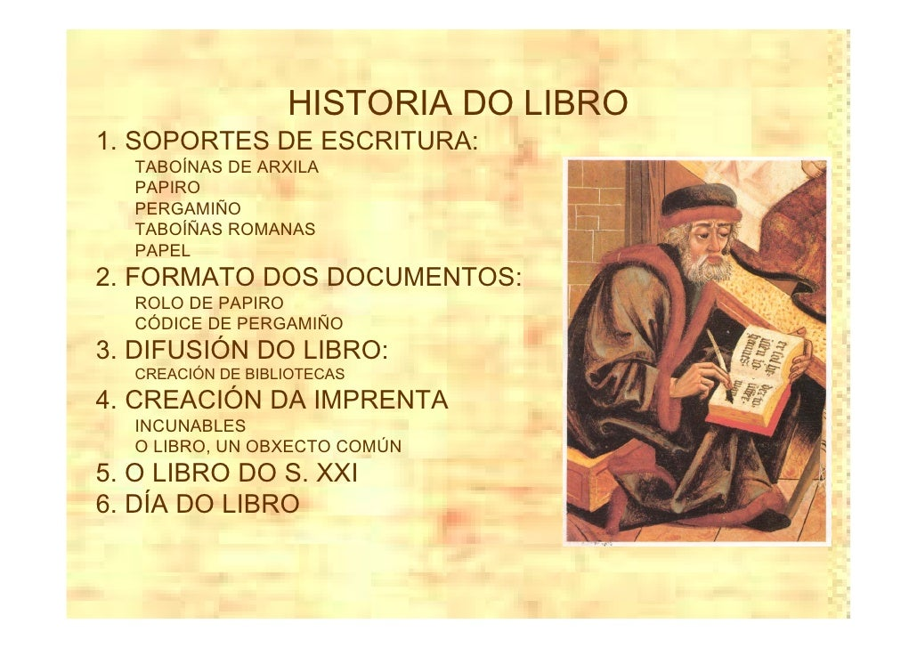 HISTORIA DO LIBRO 1. SOPORTES DE ESCRITURA:   TABOÍNAS DE ARXILA   PAPIRO   PERGAMIÑO   TABOÍÑAS ROMANAS   PAPEL 2. FORMAT...
