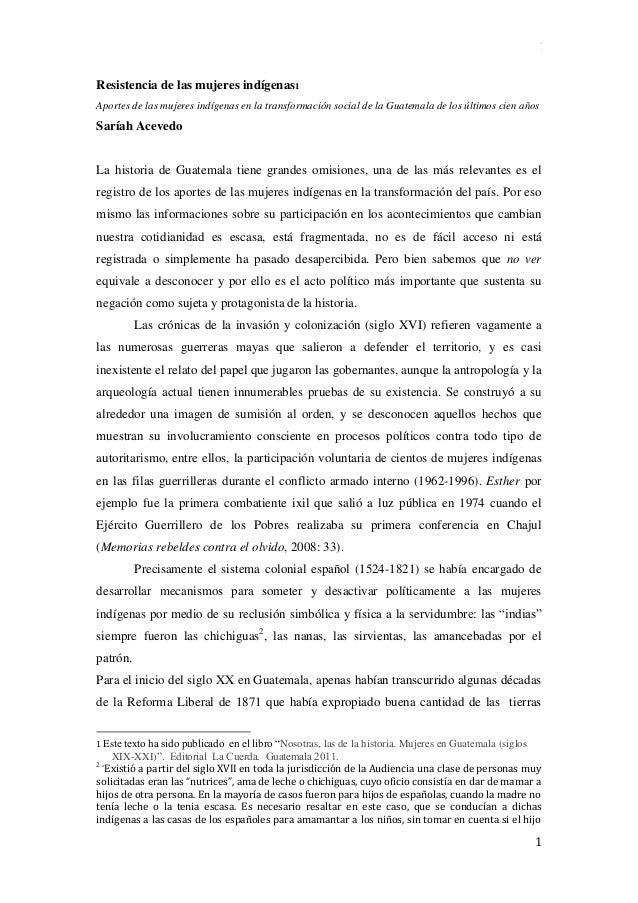 1 1 Resistencia de las mujeres indígenas1 Aportes de las mujeres indígenas en la transformación social de la Guatemala de ...