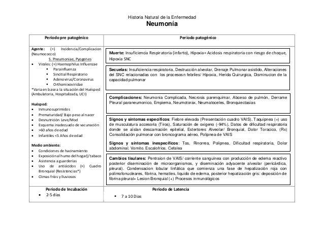 Historia Natural de la Enfermedad  Neumonía  Periodo pre patogénico Periodo patogénico  Agente: (+) Incidencia/Complicacio...