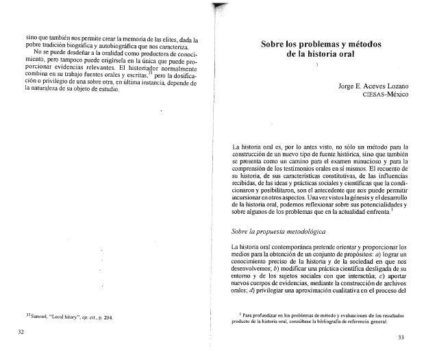 Curso de Historia Oral: Texto 01