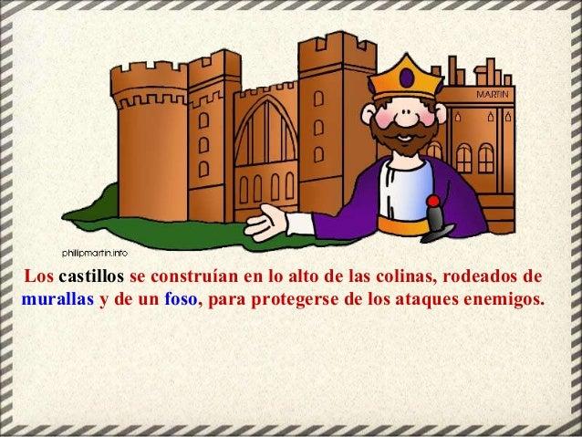 Los castillos se construían en lo alto de las colinas, rodeados de murallas y de un foso, para protegerse de los ataques e...