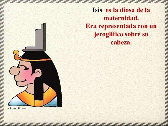 Isis es la diosa de la maternidad. Era representada con un jeroglífico sobre su cabeza.