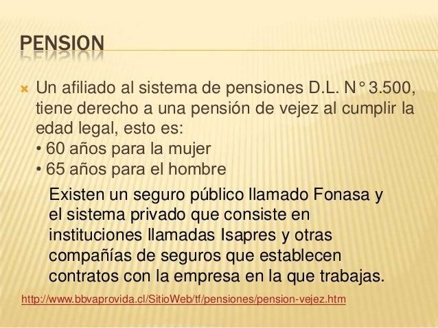 PENSION Un afiliado al sistema de pensiones D.L. N° 3.500,tiene derecho a una pensión de vejez al cumplir laedad legal, e...