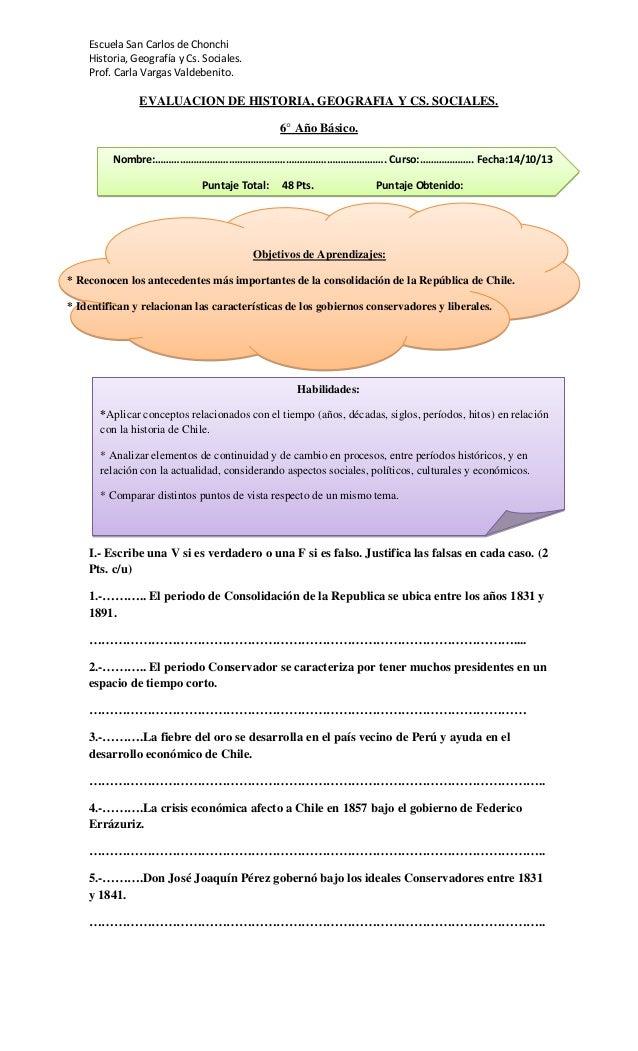 Escuela San Carlos de Chonchi Historia, Geografía y Cs. Sociales. Prof. Carla Vargas Valdebenito.  EVALUACION DE HISTORIA,...