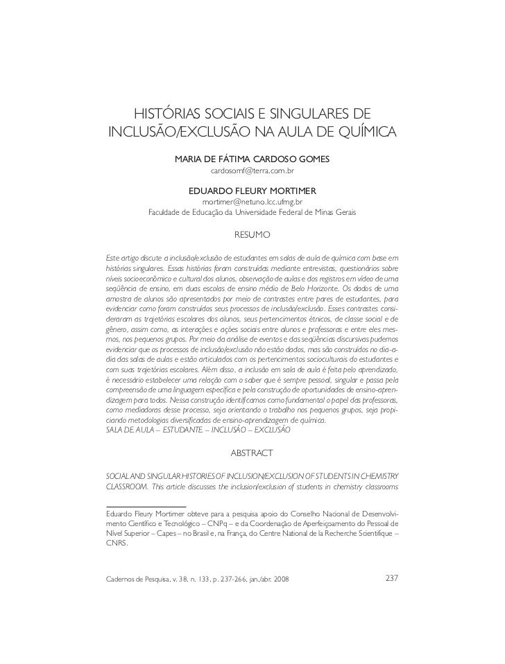 Histórias sociais...   HISTÓRIAS SOCIAIS E SINGULARES DEINCLUSÃO/EXCLUSÃO NA AULA DE QUÍMICA                        MARIA ...
