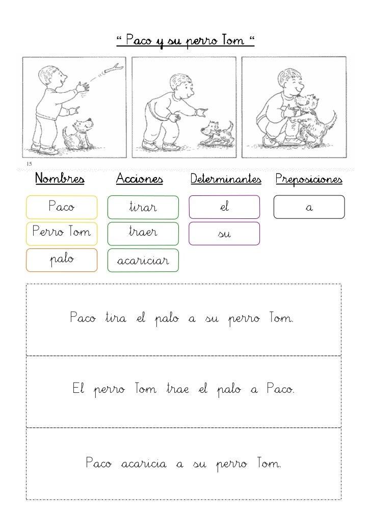 """"""" Paco y su perro Tom """"Nombres       Acciones    Determinantes   Preposiciones  Paco          tirar          el           ..."""