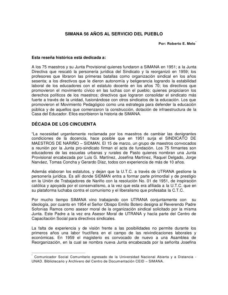 SIMANA 56 AÑOS AL SERVICIO DEL PUEBLO                                                                                     ...