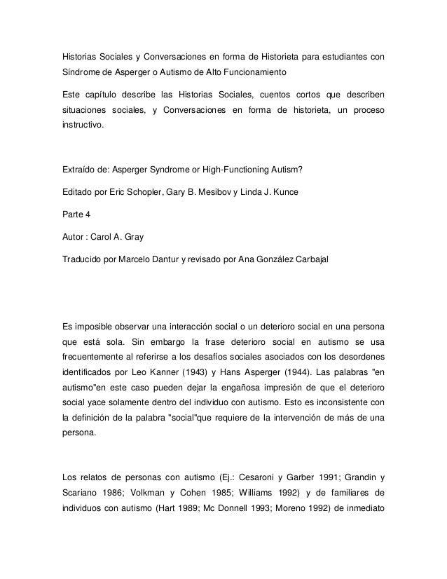 Historias Sociales y Conversaciones en forma de Historieta para estudiantes con Síndrome de Asperger o Autismo de Alto Fun...