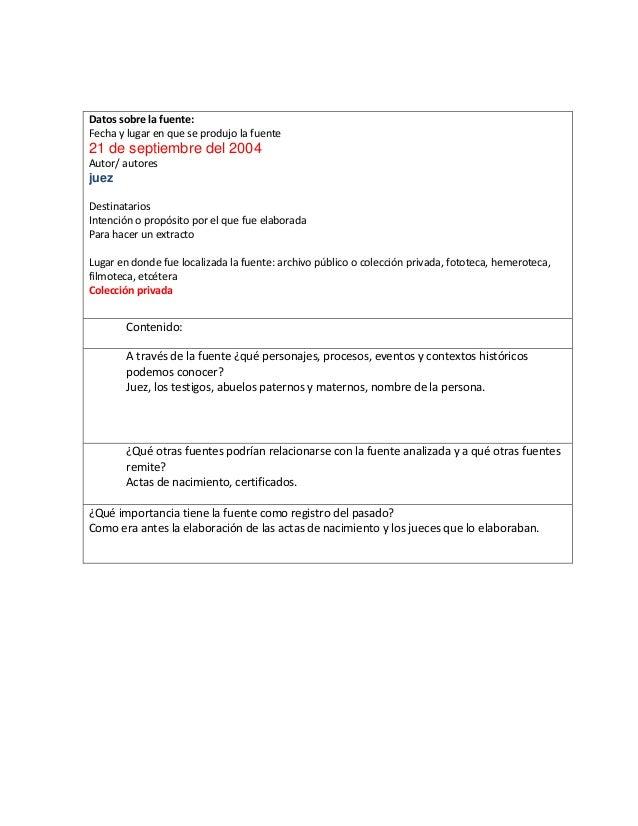 Datos sobre la fuente: Fecha y lugar en que se produjo la fuente  21 de septiembre del 2004 Autor/ autores  juez Destinata...