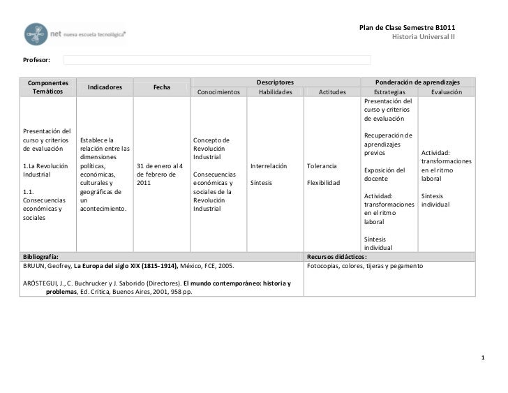 Plan de Clase Semestre B1011                                                                                              ...