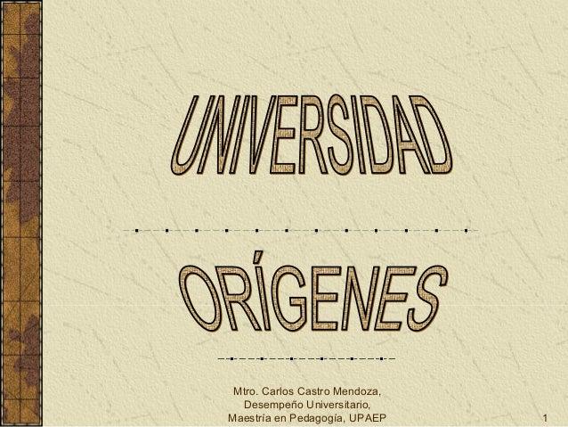 Mtro. Carlos Castro Mendoza, Desempeño Universitario, Maestría en Pedagogía, UPAEP 1